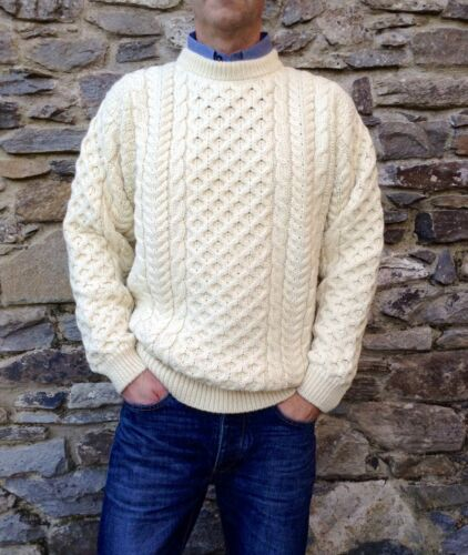 Mens Cable Irish Aran Fisherman Sweater Ireland 100% Pure Wool Jumper Crew Neck  <br/> Buy direct from us the manufacturer handcrafted RRP £90