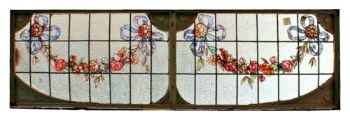 """Antique hand painted and leaded glass transom window with iron frame. 21"""" hx 68"""
