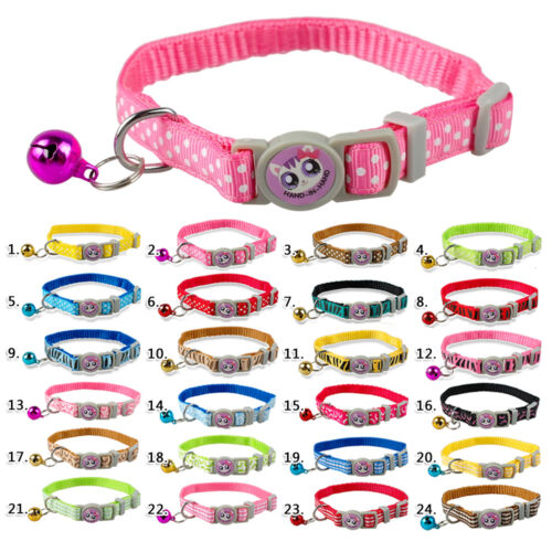 Cute Nylon Cat Kitten Puppy Dog Collars With Bell Quick Release Safety For Dogs