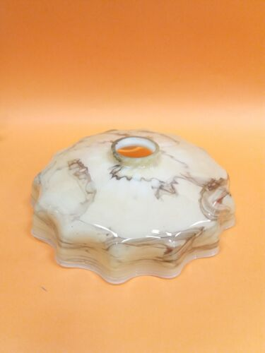 ANTIQUE ART DECO GLASS BROWN LAMP SHADE  MARBLED