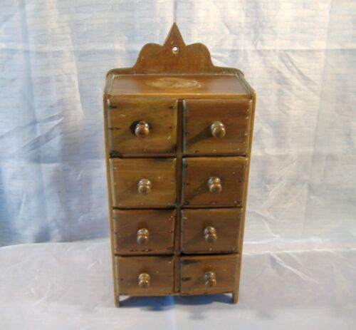 Antique Primitive Eight Drawer Hanging Wood Wall Cabinet Chest Spice Apothecary