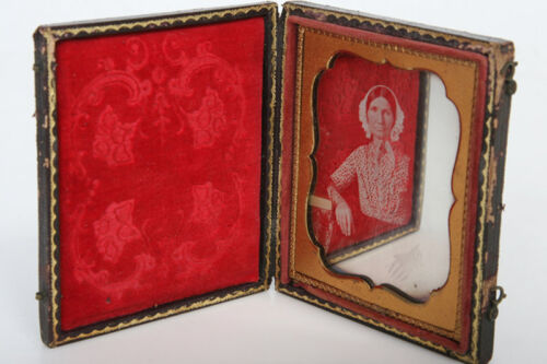 Leather And Wood Folding Case With Sixth Plate Daguerreotype Image photo