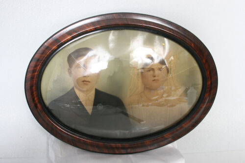 Antique Oval Wall picture Frame with curved glass 1920s - add your own photo/art
