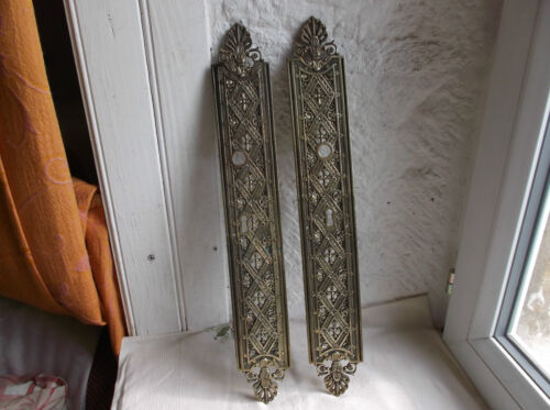 French antique classic bronze door push plates finger patina  a pair gorgeous