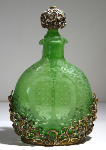 Austrian Green Glass Reticulated Gilt Bronze Enamel Emerald Decanter/Perfume
