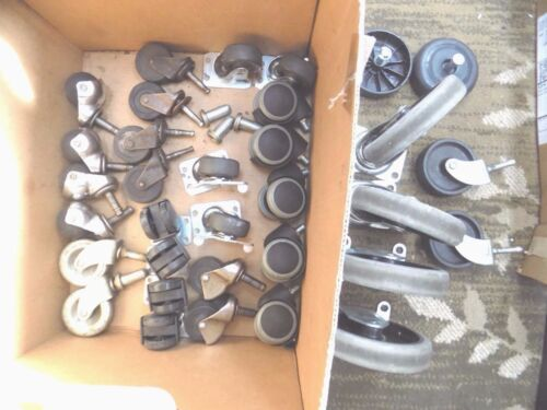 Lot of 33  Casters Wheels Furniture Chairs Metal Rubber Plastic