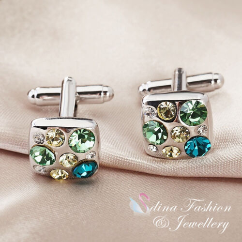 18K White Gold Plated Made With Swarovski Element Square Green Men`s Cufflinks
