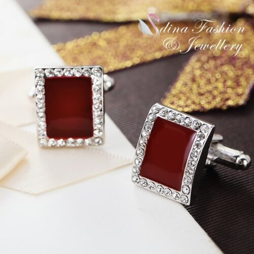 18K White Gold Plated Simulated Diamond Opal Charming Rectangle Men`s Cufflinks