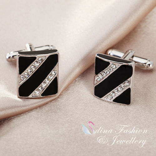 18K White Gold Plated Simulated Diamond & Opal Crossover lines Men's Cufflinks