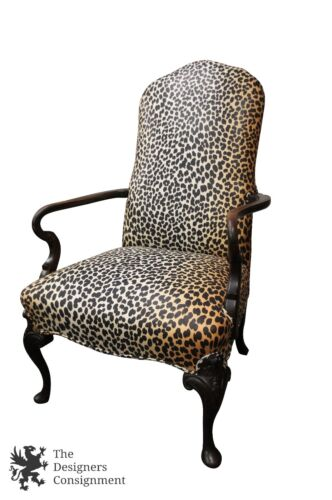 Mid Century Mahogany Arm Chair Leopard Upholstery Queen Anne Style Office Desk