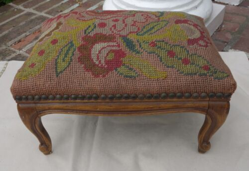 ANTIQUE PETITE FRENCH FOOTSTOOL Needlepoint Stool Rest FRUITWOOD Country