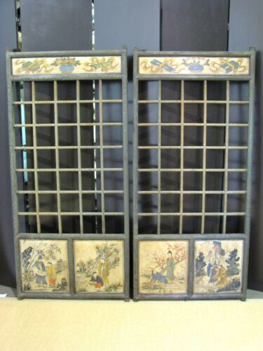Stunning Pair of Vintage Chinese Latticework Panels with Painted Scences