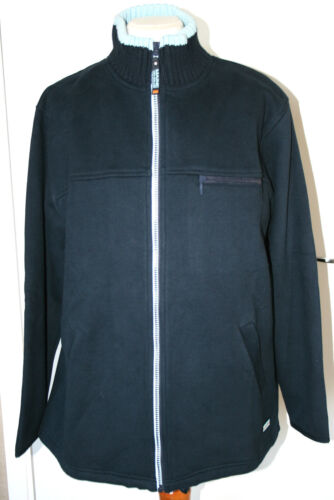 Maine UK14 EU42 new navy zip-up sweatshirt jacket with pale blue knitted collar