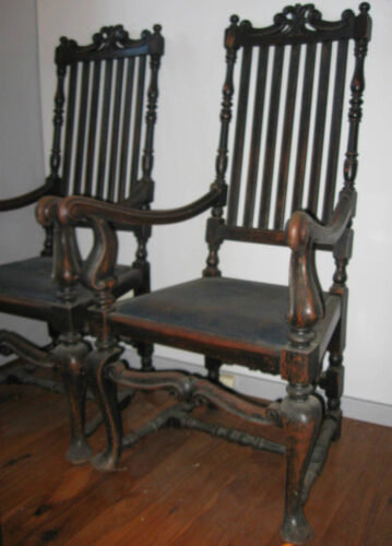 English oak dining chairs antique 1770 AD approx