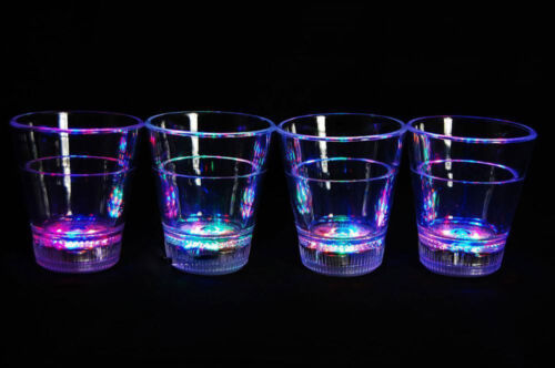 Set of 4 Light Up MultiColor LED Shot Glasses- Fast USA Shipping!