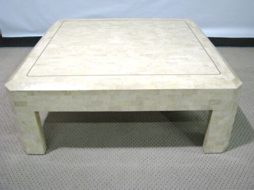 Vintage Maitland-Smith Tessellated Coral Stone Coffee Table With Brass Inlay