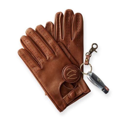 MENS CLASSIC DRIVING GLOVES SOFT GENUINE REAL LAMBSKIN LEATHER DARK BROWN