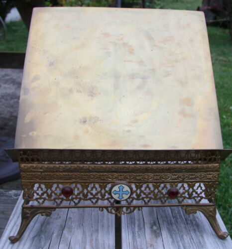 antique vintage brass family Bible stand **BEAUTIFUL**