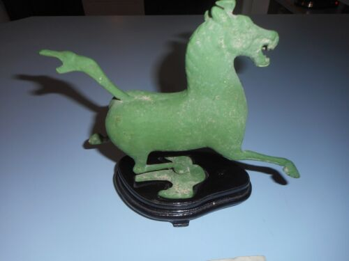 Vintage Chinese Oriental Cast Metal (Bronze?) Horse Fly Swallow W/ Stand Dont Kn