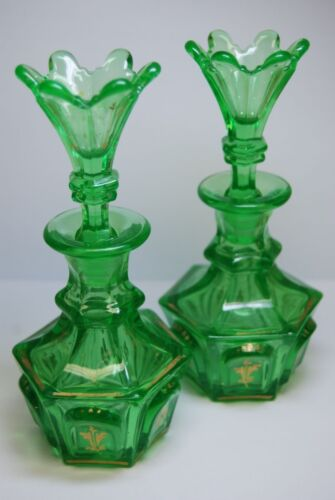ANTIQUE OLD EAPG AMERICAN VICTORIAN BOSTON SANDWICH GLASS  GREEN COLOGNE BOTTLES