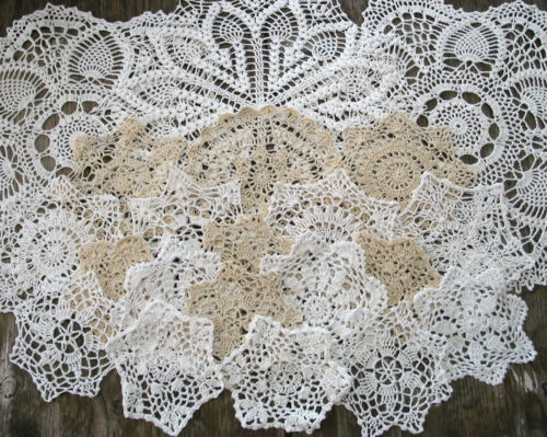 "lot of 21p  Hand Crochet Doilies 5""-7""-15"" Wht & Natur VTG Wedding Tea Party NEW"