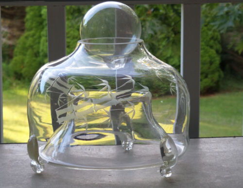 Antique Hand Blown Etched Clear Glass Fly Trap Catcher Asian Motif 11 Inch Diam
