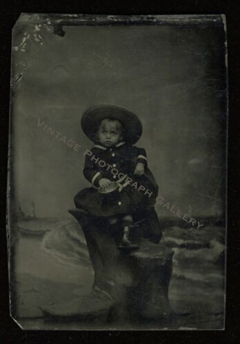 Antique Tintype Photo Little Child With Hat Beach Pail Shore Theme Nice Pose