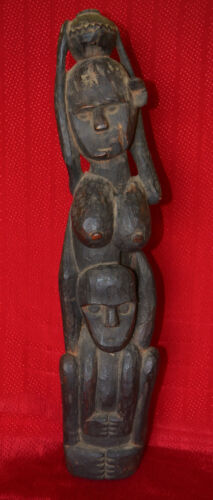 RARE VERY OLD ARCHAIC HAND CARVED  HARD WOOD DAYAK BORNEO FERTILITY CARVING