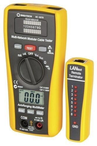 2 in 1 Network Cable Tester and Digital Multimeter Manual or automatic testing