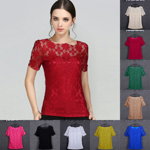 Fashion Summer Women Loose Casual Short Sleeve Lace Shirt Blouse Ladies Tee Tops