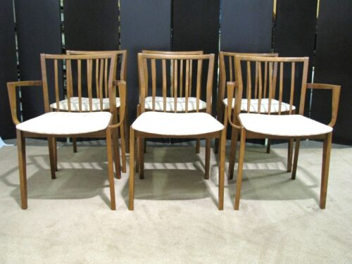 Set of 6 German Mid-Century Modern Birch Dining Chairs; 4 Side & 2 Armchairs