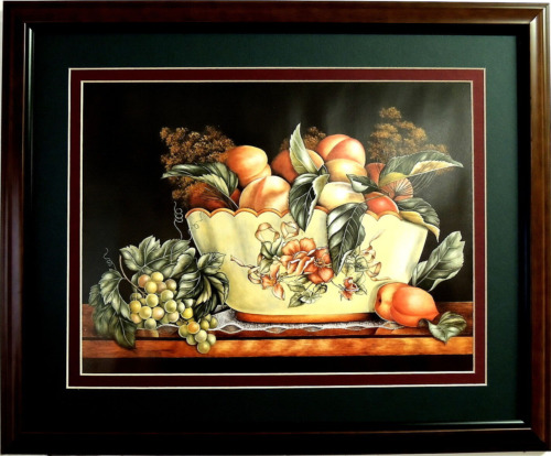 FRUIT PICTURE FRUIT BOWL PEACHES GRAPES MATTED FRAMED 16X20