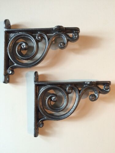 "Pair PEWTER 4"" SMALL DECORATIVE VINTAGE CAST IRON VICTORIAN SHELF WALL BRACKETS"