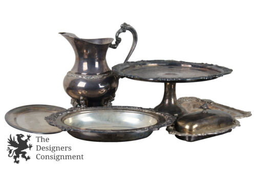 Lot of Assorted Sheridan Repousse Silver Plated Accessories Pitcher Tray Compote