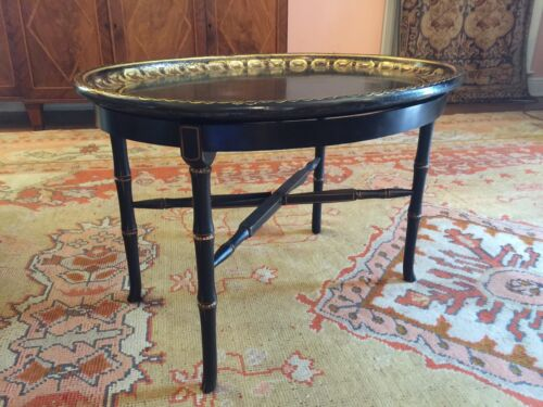 English Oval Gilt Tray on Stand, English antique, Tole table, Coffee table
