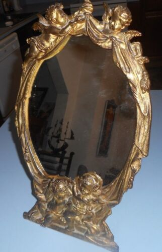Large Antique Cast Iron Victorian Table Vanity Mirror Cherubs