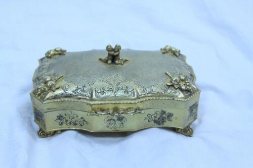 German Victorian 800 silver gold plated jewelry box Made in Germany 11.91 oz