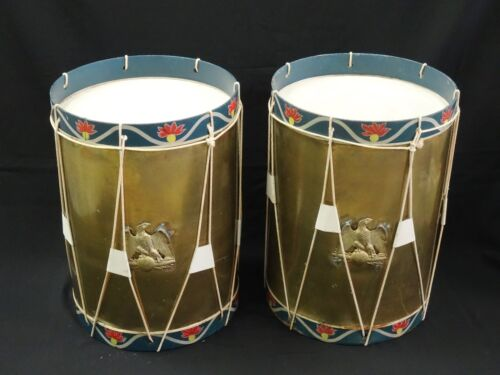 PAIR of VINTAGE TROUVAILLES MILITARY DRUM SIDE TABLE MADE FOR JACKIE GLEASON