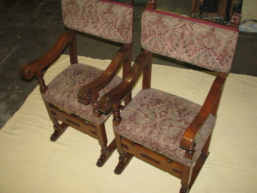 Pair of Restored 17th Century Continental Walnut Throne Armchairs With Paw Feet