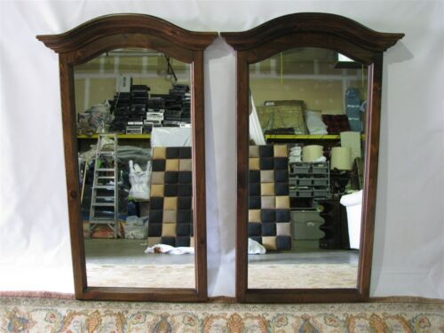 "*PAIR* Vintage Ethan Allen Antiqued Pine Old Tavern Bonnet Top Mirrors 50"" Tall"
