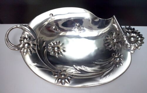 WONDERFUL ART NOUVEAU WMF Silverplate Daisy Flower Footed Visiting Tray ca 1890