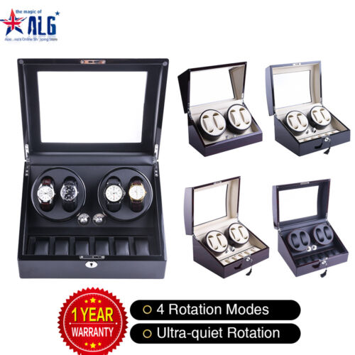Luxury Automatic Dual Motor Watch Winder Display Box 4+6 Leather Storage <br/> 100% Wooden Handmade Deluxe Piano Baking Varnished