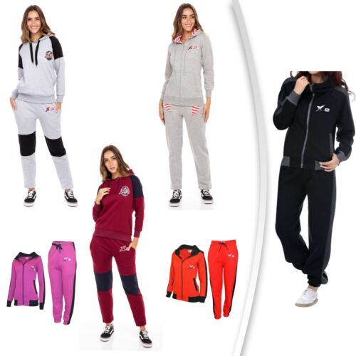 f0597f07267f0 X-2 Womens Athletic Full Zip Fleece Tracksuit Jogging Gym Sweatsuit Hooded  Top