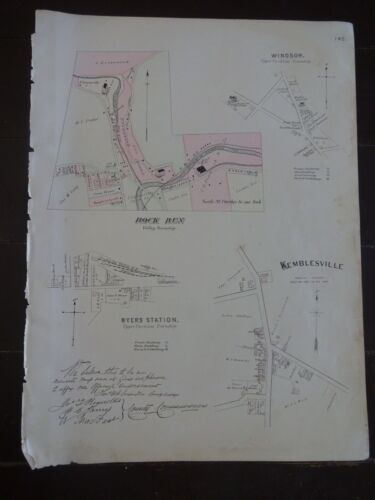 HISTORIC 1883 Map of the Town of Rock Run & Kemblesville, PA - Specific Detail