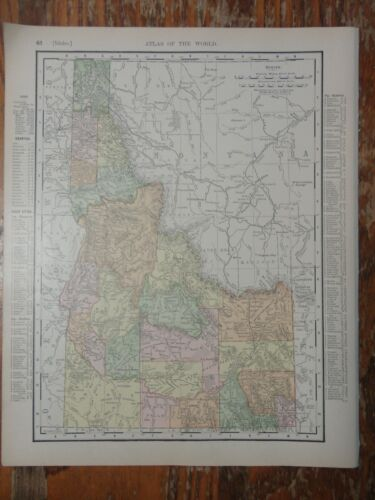 Nice colored map of Idaho or Montana -1907 Universal Atlas of the World