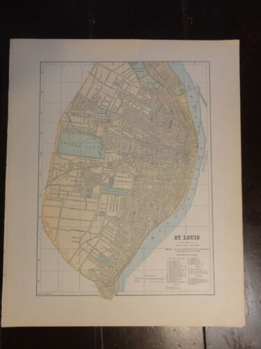 1893 Colored Map of St. Louis - Hunt & Eaton, New York