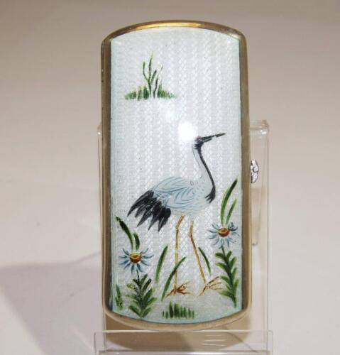 Austrian Sterling Silver & Painted Guilloche Enamel Case/Box w/Crane circa 1900