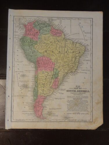 1840 Hand Colored Antique Engraved Map of S. America from Mitchell's Atlas