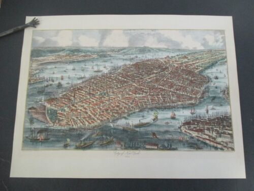 Hand-Colored Map CITY OF NEW YORK 1853, Ponte Vecchio Reproduction circa 1960