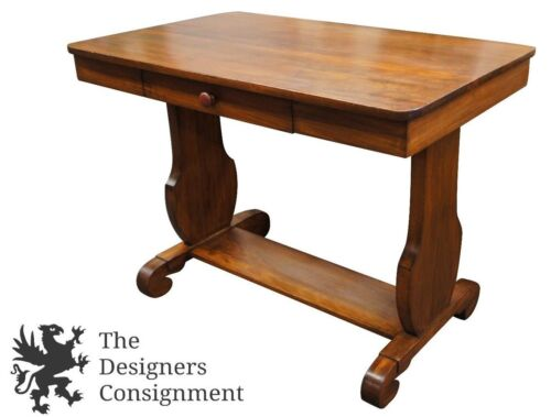 Early 20th Century Jacobean Style Library Hall Table Maple Desk W/ Trestle 40""